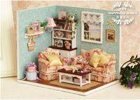 achat en gros de kits d'éclairage dollhouse-Nouveau gros Diy Miniatura Maison en Bois Doll Avec Meubles Lumière Dollhouse Miniature Puzzle Toy Model Kits Jouets cadeau de Noël Anniversaire