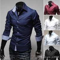 Wholesale 2016 Fashion Men Dress Shirts Long Sleeve Men Shirt Slim Fit Men s Clothting Chemise Homme Bag buckles in pure color mens shirt