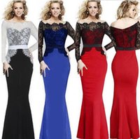 Wholesale 2016 Spring New Long Sleeved Lace Stitching Slim Package Hip Type A Solid Temperament Sexy Tight Draping Mopping Fish Cocktail Dress B