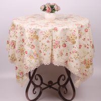 beige coffee table - Beige Pure Cotton Table Cloth for Tea Coffee Tables High Quality Rose Floral Dinning Table Cover