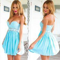 bandeau mini dress - New Sexy Blue Bandeau Prom Dress Women Hollow Out Lace Short Cocktail Dress Evening Gown Strapless Mini Short Formal Dresses PDF0459