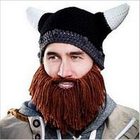 achat en gros de ski nouveauté-Hiver Nouveauté Chapeaux Beanie Skull Caps Bearded Chapeaux Tricotés Vikings Corne Hat Warmer Ski Bike Skull Hat Unisexe Hommes Enfants Beard Cap