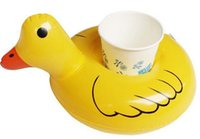 Wholesale yellow Duck Floating Inflatable Drink holder Rubber duckCan Holder bottle holder cup holder bottle floats glass floats can floats cup floats