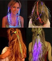 Wholesale LED Fiber Hair Light Up Hair Barrettes Multicolor Flash Barrettes Clip Braid Party Supplies