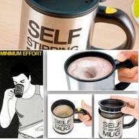 Wholesale 350ml Lazy Man Stainless steel Office self stirring Mug Mixing Tea Coffee