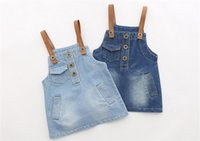 Wholesale Lovely Gril Cotton Denim Shoulder Straps Panier Princess Dress Applique Beauty Braces Skirt Girl Children Jeane Braces Skirt Dress
