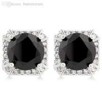 asscher cut earrings - Silver Prong Round Cut Black CZ On Asscher Halo Detailed Corners Earrings