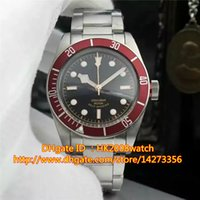 Wholesale New Luxury High Quality Herie Black Bay Automatic Men s Watch R Red Bezel Black Dial Stainless Steel Bracelet Gents Watches TU3