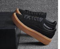 Wholesale 36 Rihanna x Suede Creeper Black Star White Black Women Men Casual Shoes Fashion Ladies Rihanna shoes sneakers women men With box