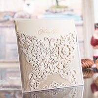 Wholesale New Laser Cut Wedding Invitations Gold Free Printing Wedding Invitation Card Flowers Hollow Wedding Cards DL I0004