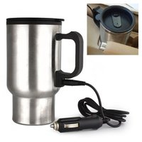 Wholesale Tea Water Coffee Heater DC V Stainless Steel ml Car Heated Cup Thermos Travel Mug Hot New Car Styling HEY10818