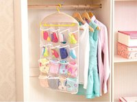 Wholesale New Arrive Thick Multifunction Clear Socks Cosmetic Underwear Sorting Storage Bag Door Wall Hanging Closet Organizer bag cajas organizadora