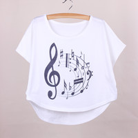 apparel big size - Music printed women summer dresses big size batwing sleeved t shirts girls top tees new arrival fashion apparel mixed order
