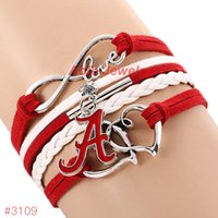 alabama football jewelry - Infinity Love Alabama Crimson Tide College Football Bracelet New Leather Bracelet Fans Jewelry