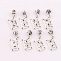 bead tape - 2016 hot Antique Silver Music Cassette Tape Charm Beads Dangle Fit European Bracelets B258 X16 mm