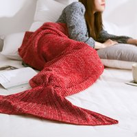 Wholesale Mermaid Tails Blanket for Adults and Teens Cartoon Crochet Snuggle Throw Blanket Sleeping Bag with Knit Pattern Sofa Blanket