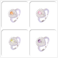 Wholesale Imitation Rhodium Plated Rings Luxury Crystal AAA Cubic Zirconia For Women Top Fashion With Jewelry Chirstmas Gift Hot Sales