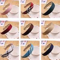 Wholesale Children Lady Headbands Width cm Women Kids Plaid Solid Satin Covered Ribbon Winding Hair Band Birthday Gifts HH H11
