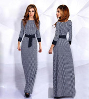 Wholesale New Print Dress Diamond Lattice Floor Length Muslim Robes Black