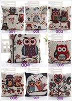 Wholesale Gray and Yellow Owl Linen Pillow Case Sofa Waist Throw Cushion Cover Modern Home Decor