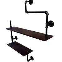 Wholesale American Country Wrought Iron Furniture Industry Pipe Retro Creative Personality Hanging on the Wall Shelves wall shelving Z2
