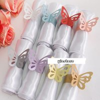 animal ring stand - 8 colors butterfly napkin ring Pearlescent paper wrap bridal shower wedding favors party table Decoration