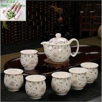 bone china tea cup - Good Sale bouble layer tea sets kung fu tea gift set teaports big cup flower tea black tea set porcelain teaset Set
