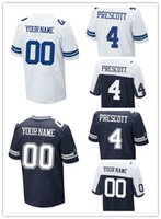Wholesale NEW Free Drop Shipping NEW Dak Prescott Cowboys blue white thanksgiving day Stitched Elite Football Jerseys custom Mix Order