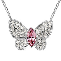 Wholesale Fashion Butterfly Crystal Pendant Necklace Prom Jewelry Made with Swarovski Elements Austrian Crystal Jewelry Necklace For Women