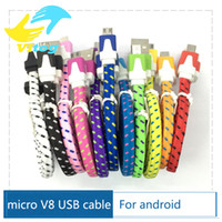 Wholesale 2016 High Quality M M M Flat Noodle Nylon Charger Cable Fabric Braided Micro USB Charging Data Sync Cord for android for iphone5