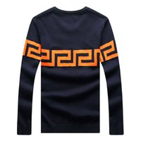 Wholesale Man Plus Size Long Sleeve O neck XL Black Wine Navy Knitted Pullovers Brand Clothing Men Sweater