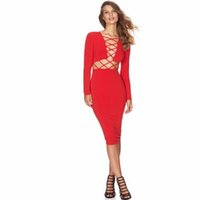 Wholesale 2016 Hot Sale New Fashion Sexy Club Dress Women Bodycon Party Bandage Dresses Hollow out clubwear Bodysuit VESTIDOS Dresses