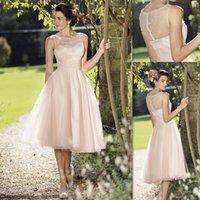 tea length bridesmaid dresses - Blush Pink Tea Length Bridesmaid Dresses Sheer Crew Neck Beaded Wedding Party Gowns Tulle Elegant Short Prom Dress