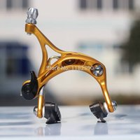 arm mechanism - Ultralight Cold forged aluminum arms dual pivot caliper Bike BRAKE for Road bike with quick release mechanism Anodized Gold