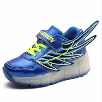 automatic shoes - Fashion Sport Led Kids Shoes with Wings Automatic Wheel Shoes Toddler Girls Boys Lighted Sneakers Breathable Flashing Skate Running Shoes
