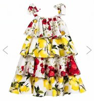 Wholesale Brand New Girls Lemon Dress Baby Fashion Style Tutu Dresses Kids Lace Bow Ties Tutu Dress Childrens Summer Dresses Baby Girls Floral Dress