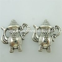 antique tea pots - 15271 Alloy Antique Silver Vintage Tea Pot Grape Pendant Charm