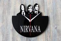 Wholesale Vintage Retro Wall Clock Black Disc Clock Nirvana Band for Bedroom Home Decoration