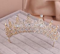 Cheap Wholesale-Red Clear Wedding Bridal Crystal Tiara Crowns Princess Queen Pageant Prom Rhinestone Veil Tiara Headband Wedding Hair Accessory