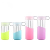 Wholesale Top quality glass water bottle ML ML ML galss water bottle with straw portable outdoor four color for choose