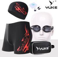 Wholesale 5pcs New UV Prescription Goggles adult swimming trunks swimming cap suit Optical Corrective Myopia Lenses Anti fog