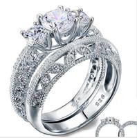 Estilo del art déco del Victorian 1,5 Ct Creado diamantes plata de ley maciza 925 2-PC de la boda del anillo de compromiso Conjunto
