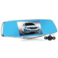 2016 de lujo de 5.0 pulgadas de espejo retrovisor coche Dvr Full HD 1080p cámara de coche de estacionamiento de doble lente de vídeo del vehículo de visión nocturna