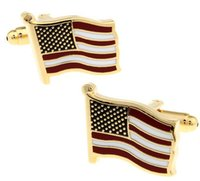 Wholesale Men s Jewelry Electroplated Golden American Flag Cuff Links Cufflinks Best Gift for Men with no Gift Box