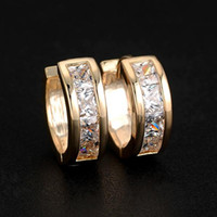 Wholesale Fashion Womens CZ Crystal Rhinestone Hoop Earrings Huggie Charms Ear Studs Jewelry