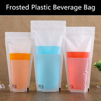 beverage stand - 100pcs micron Stand up Frosted Plastic Ziplock Bag Matt Plastic Drink Packaging Pouch Ziplock Transparent Plastic Beverage Bag