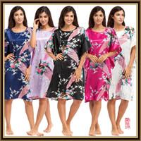 Wholesale Round Neck Women s Japanese plus size Silk Kimono lingerie sexy Robe calico Flower Nightdress Sleepwear Kimono Underwear long Robes CL WQ10