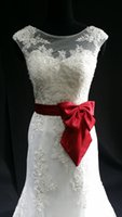 Wholesale White Wedding Dress With Red Satin Ribbon A Line Elegant Wedding Gown Red Bow Knot Lace Low Back Bridal Dress