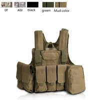 Wholesale New Adjustable Heavy Duty Tactical Airsoft MOLLE Combat Vest OD Green blak w mag pouch