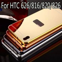 aluminum effects - Luxury Mirror effect case for HTC Desire Hard Metal Aluminum frame PC Protector back cover Mobile phone housing